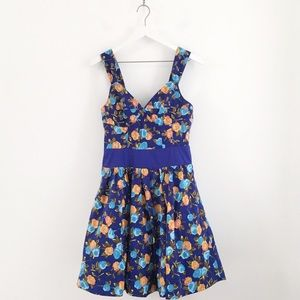 ANTHRO Plenty by Tracy Reese Blue Floral Dress 6